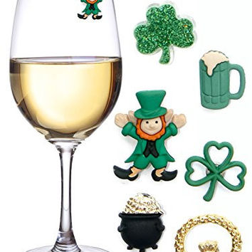 St. Patricks Day Magnetic Drink Markers & Wine Charms for Stemless Glasses, Beer Mugs or Pints - Fun for a Party, Even use as Favors - Set of 6