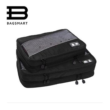 BAGSMART Water-resistance Travel Packing Cubes 2PCS Duble Zippers Mush Garment Clothing Storage Bags  Organize Luggage Suitcase