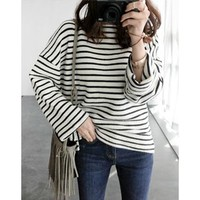 Drop-Shoulder Striped T-Shirt