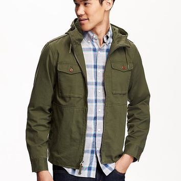 Old Navy Mens Hooded Twill Jacket