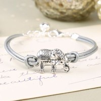 Silver Leather Elephant Bracelet