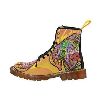D-Story Shoes Colorful Dog Lace Up Martin Boots For Women