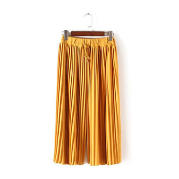 Women's Fashion Summer Pleated Pants Capri [4920281028]