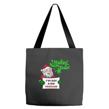 heapy new year funny santa claus christmas Tote Bags
