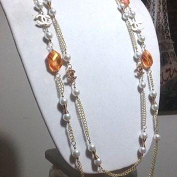 Designer Two Strand Hollywood Glam, Crystal Pearl Chain Necklace