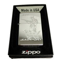 Zippo Custom Lighter - Hunter and Dog Laser Engraving with Name Logo - Regular High Polished Chrome 250MP323597