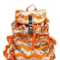 Chevron Sequin Backpack Org/silver
