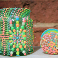 Glow in the Dark Glass Jar---Pointillism