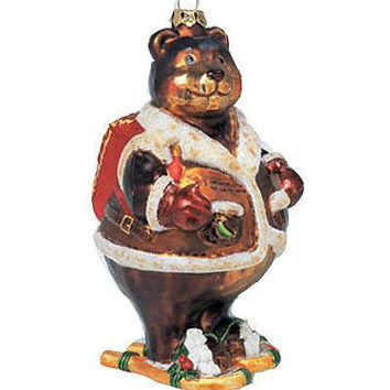 Christmas Ornament - Mrs. Bear With Snowshoes