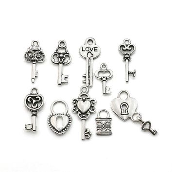 DCCKF4S Mixed Tibetan Silver Plated Key Lock Love Charm Pendants for Bracelet Necklace Jewelry Diy Jewelry Making Handmade 10pcs