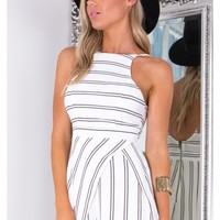 Simon Says playsuit in white stripe