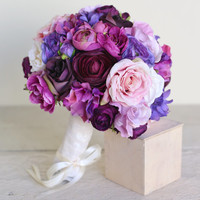 "Purple Silk Bridal Bouquet Lavender Rustic Country Wedding  Large 14"" Size NEW 2014 Design by Morgann Hill Designs"