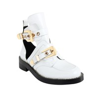 Exclusive - CRUSH White Cutout Boots - Gold Buckles