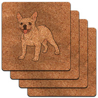 French Bulldog Pet Dog Low Profile Cork Coaster Set