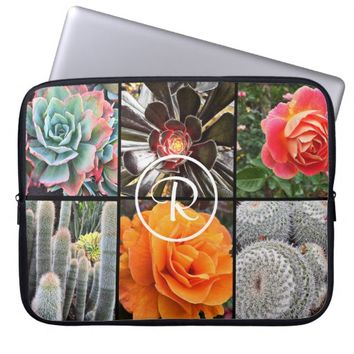 Cacti & roses photo custom monogram laptop sleeve