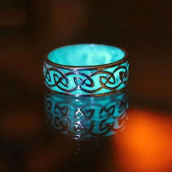 Vintage Noctilucent Geometric Adjustable Lightning Ring