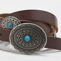 AEO Women's Turquoise Concho Leather Belt (Brown)