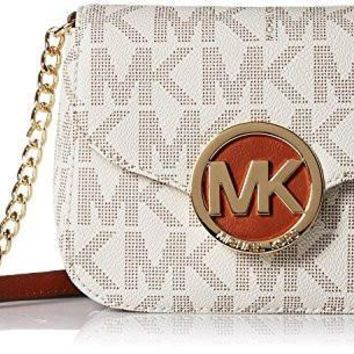 Michael Kors Women's Fulton Small Vanilla Leather Crossbody Shoulder Bag