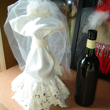 handmade wedding dress wine bottle cover by LynnRaeDesigns on Etsy