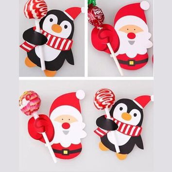 50pcs Hot Sale Penguin Santa Claus Lollipop Paper Card Decoration Birthday Party Candy Decor Christmas Candy Gift For Kids