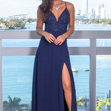 Navy Rhinestone Embroidered Top Maxi Dress