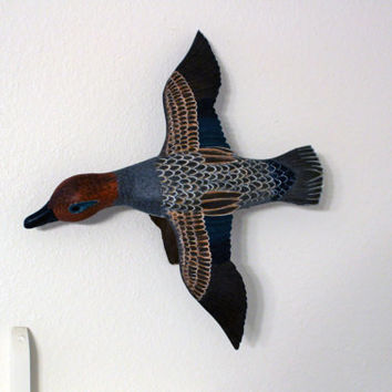 Woodcarved Male Green Winged Teal Duck; Handcarved Teal Duck; Wood carved Duck; Handcrafted Duck
