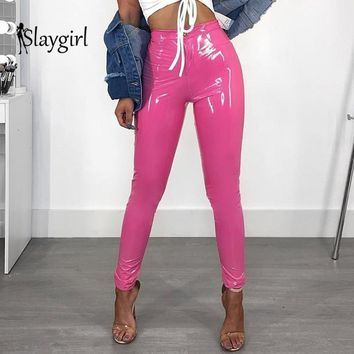Slaygirl Sexy PU Leather Pants Women Plus Size Pink Black Trousers Women High Waist Pants Fashion Casual Pantalon Femme
