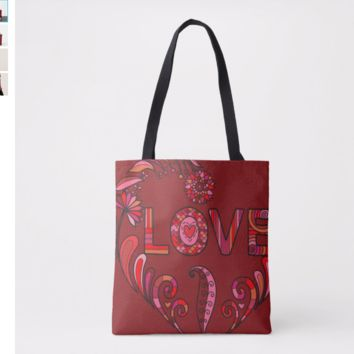 Boho Love Valentine Shoulder Tote Bag