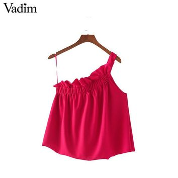 Vadim sexy one shoulder ruffles pleated tops sweet blouses sleeveless casual shirts summer hot female cute loose blusas WT434