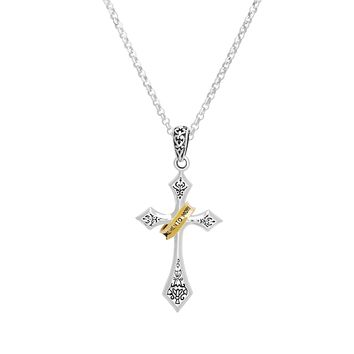 Cross with Memento Mori Ring Sterling Silver Pendant