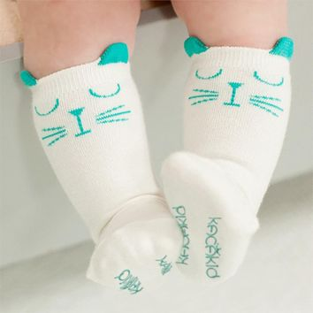 Newborn Toddler Sock Baby Boy Girl Socks Anti Slip Cute Cartoon Cat Knee High Sock