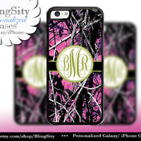 Camo Green Monogram iPhone 5C 6 Plus Case iPhone 5s 4 case Ipod muddy Realtree Personalized Cover Country Inspired Girl