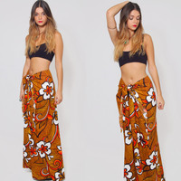 Vintage 60s HAWAIIAN Wrap Maxi Skirt TROPICAL Flowers Skirt One Size Skirt TIKI Skirt Beach Cover Up Sarong