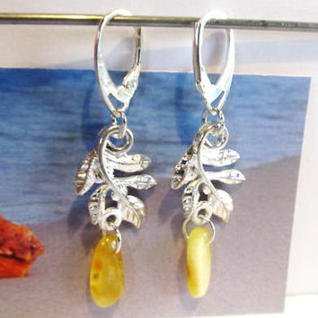 100% Natural Baltic Genuine Real Amber Leaves Earrings 3.4 gr. opaque yellow egg yolk  polished Silver 925 french clasp raw stones