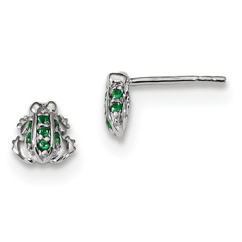 Sterling Silver Rhodium-plated Green Glass Frog Post Earrings QE13345