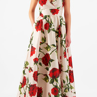 Rose print dupioni surplice maxi dress