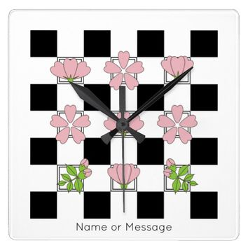 Cherry Blossom - Sakura - Floral Pattern Stylish Square Wall Clock