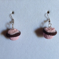 Cotton Candy Cupcake Earrings - Chocolate