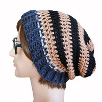 Black Beige Navy Striped Slouch Beanie Slouchy Beanie Mens Womens