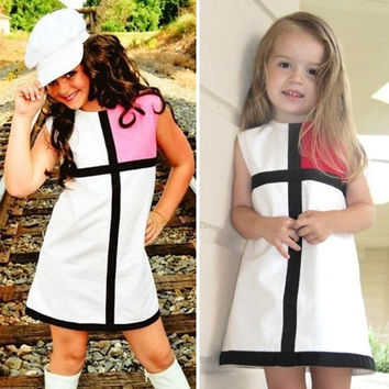 Baby Girl Sleeveless Grid Color Splicing Party Birthday Gift Dress Red Pink  D_L = 1713244612