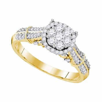 10kt Yellow Gold Womens Round Diamond Flower Cluster Bridal Wedding Engagement Ring 5/8 Cttw