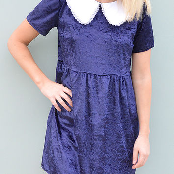 Crushed Blue Velvet Dress with Collar by Tallulah's Threads