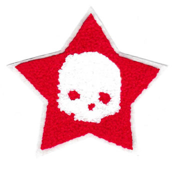 Large 10cm Red & White Chenille Skull Star Patch Applique