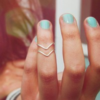 Silver Chevron Knuckle Rings (Set of Two) | Wildtwee
