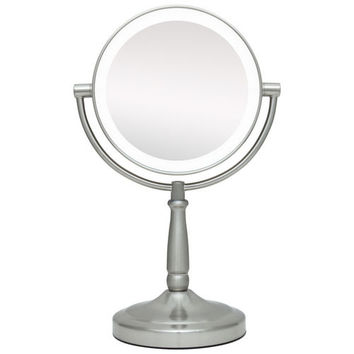 "Zadro 5.75"" Dual-Sided LED Lighted Round Magnifying Vanity Mirror"