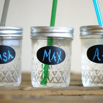 Three Kids Eco Friendly Mason Jar Tumblers - Petite Jar with Label - Personalized Tumbler with Straw - Eco Friendly Cup