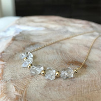 Diamond Necklace, Herkimer Diamond Necklace in Gold or Silver, Gold or Silver Herkimer Diamond Necklace, Herkimer Diamond