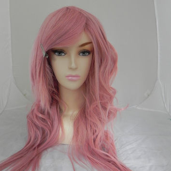 ON SALE Rose Pink / Long Wavy Straight Layered Wig