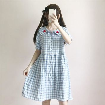 2018 Summer new fashion sweet Lantern sleeve cute heart embroidery Japanese doll collar plaid loose Harajuku kawaii dress