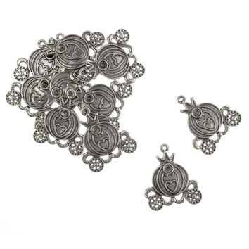 Antique Style Metal Princess Carriage Charms, Silver, 1-1/2-Inch, 10-Piece